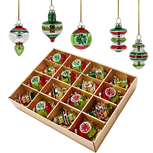 Valery Madelyn 16ct 55-81mm/2.16-3.19inch Delightful Traditional Glass Christmas Ornament Tree Ball Decoration Red, Green, Silver and White, Metal Hooks Included, Themed with Tree Skirt(Not Included)