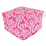 Majestic Home Goods Hot Pink and White French Quarter Ottoman, Large