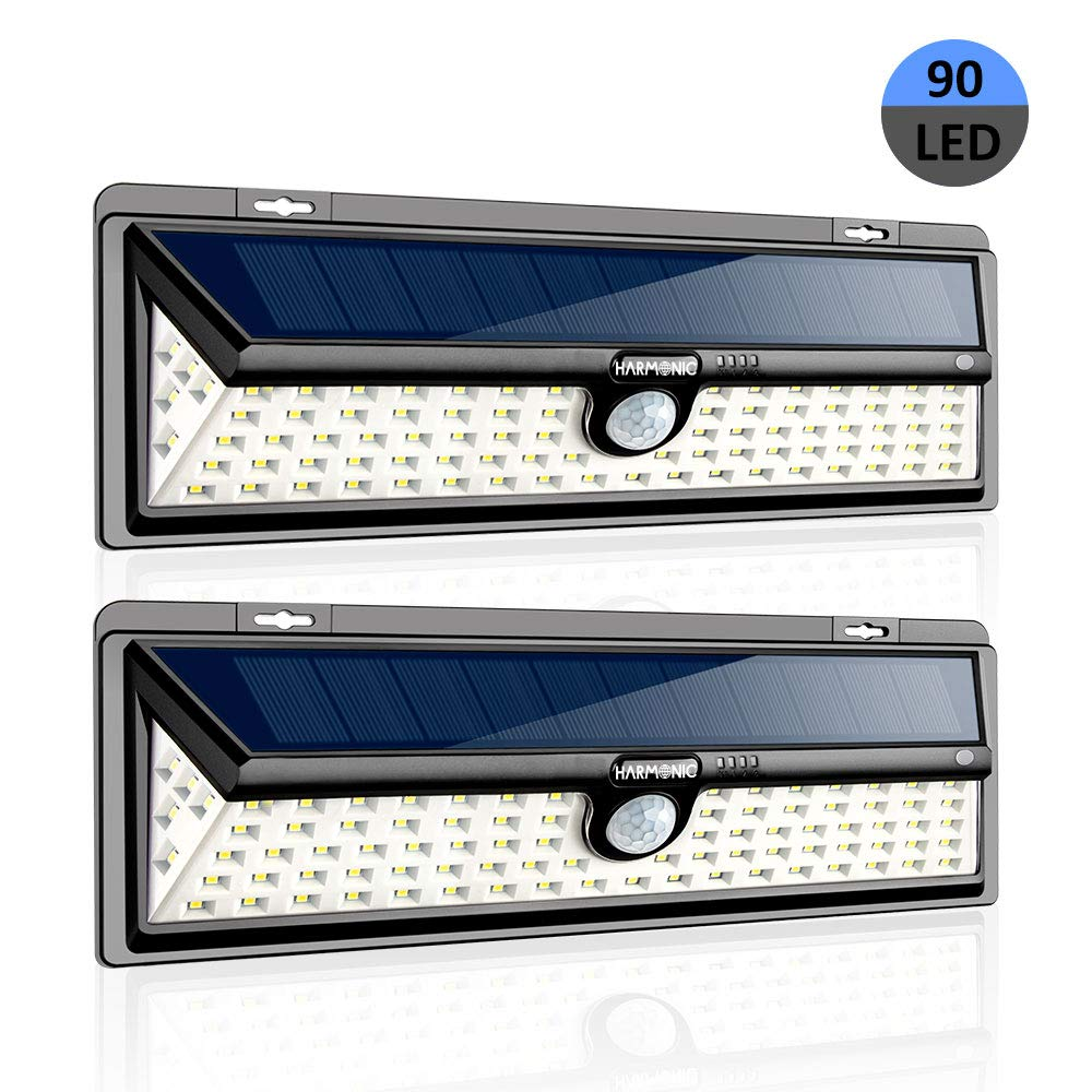 Harmonic Solar Lights Outdoor, 90 LED Motion Sensor Light with 270° Wide Angle, 3 Optional Modes IP65 Waterproof Solar Security Wall Lights for Garden, Front Door, Yard, Garage (2 Pack) by HARMONICBYI