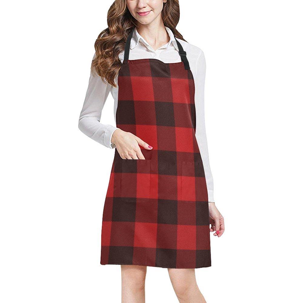 Kitchen Aprons Red Buffalo Check Lumberjack Plaid Pattern Adjustable Bib Apron With Pockets For Women