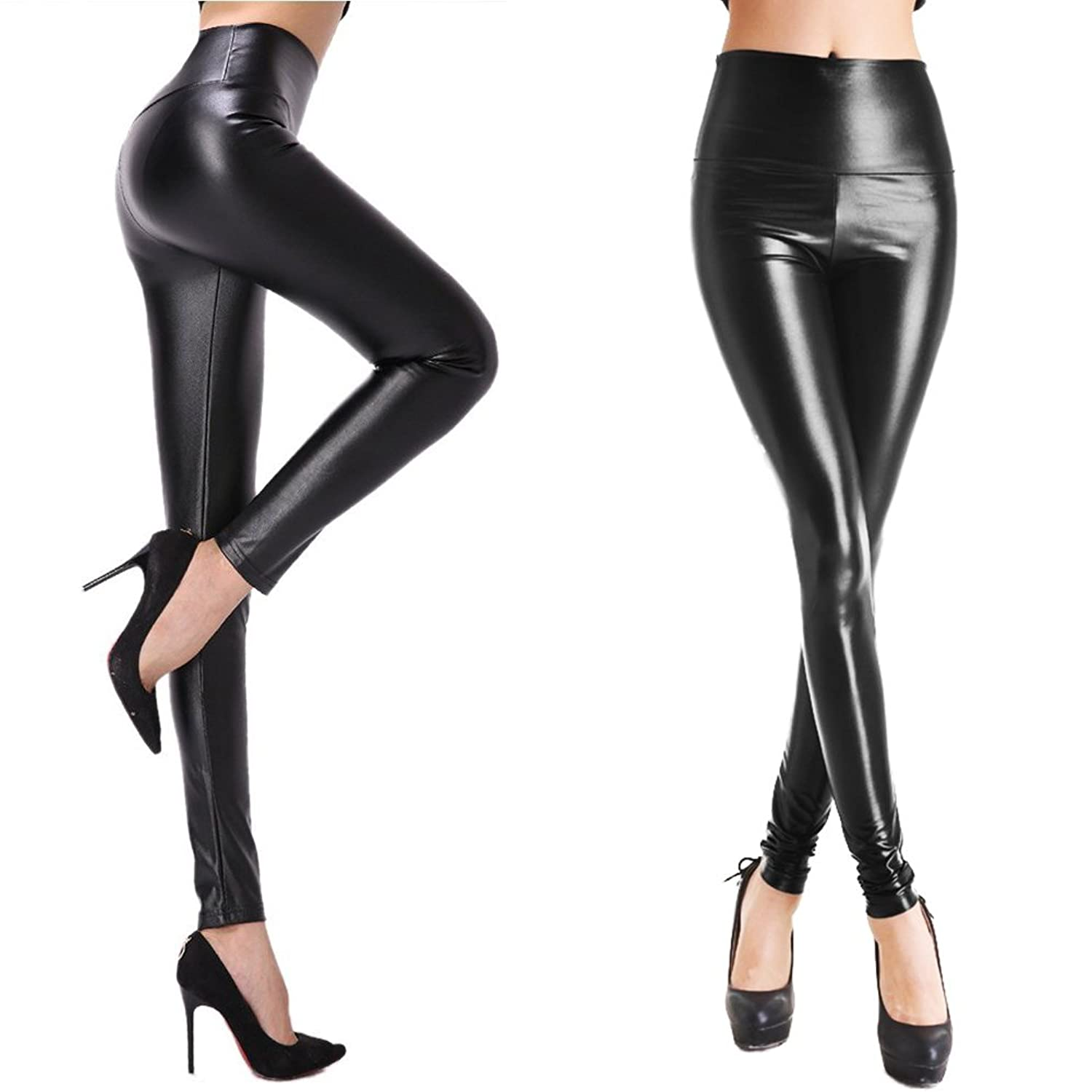1931trendy Womens Sexy Girls Faux Leather Jeans High Waisted Warm Fleece Leggings Chaparejos