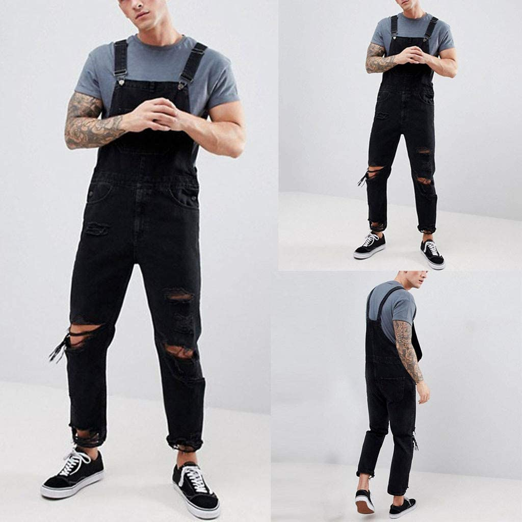 Mens Hole Pocket Jeans Overall Jumpsuit Streetwear Overall Suspender Pants Men Spring Fashion 2020