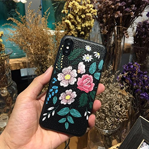 Case Embroidered Phone (iPhone X Case/iPhone Xs Case,Blingy's New Floral Style Protective TPU Rubber Case for iPhone X and iPhone Xs (Embroidered Flowers))
