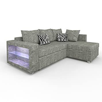 Sofa Eck Couch Led Wohnlandschaft Garnitur Schlafsofa Regal
