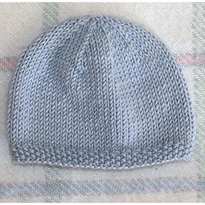 Bonnet de Naissance pour Bébé en Laine Deluxe : Fait Main - Bleu (Prématuré)