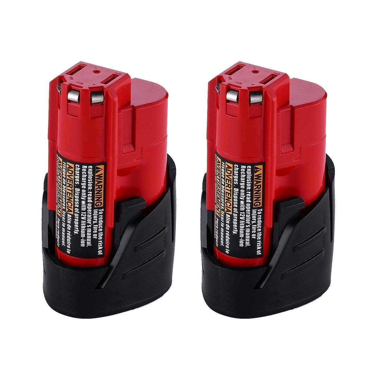 2 pack Replacement M12 battery for Milwaukee 12V Battery 3.0Ah 48-11-2402 48-11-2440 48-11-2411 M12 XC Cordless Drill