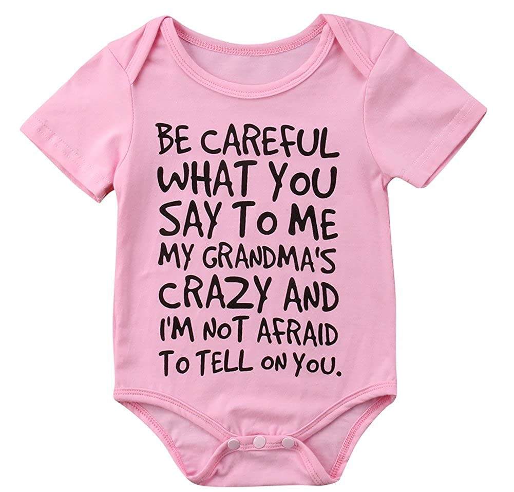 Newborn Baby Boy Girl Summer Short Sleeve Letters Print Romper Jumpsuit