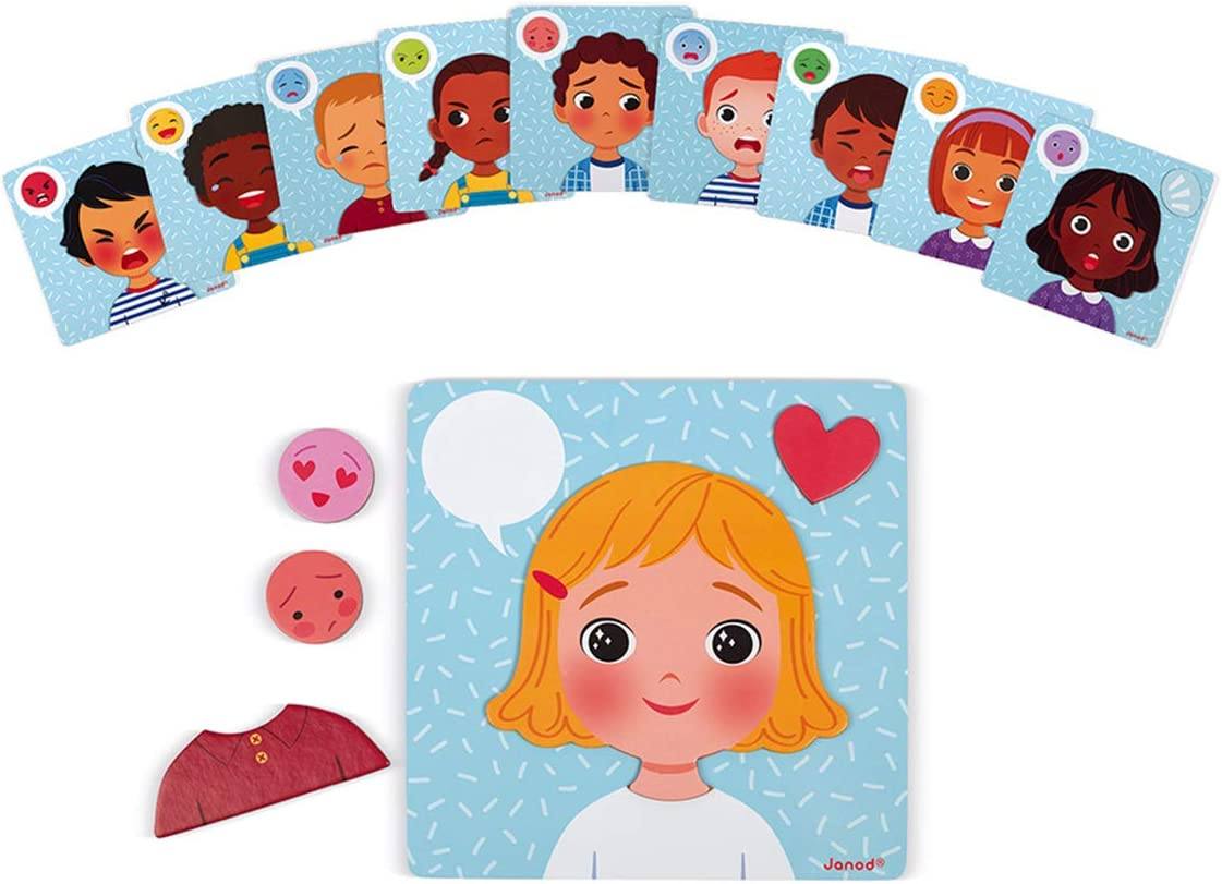Janod Magnetic Game of Emotions and Feelings for Children Ages 2+ Families and Schools (J08038)