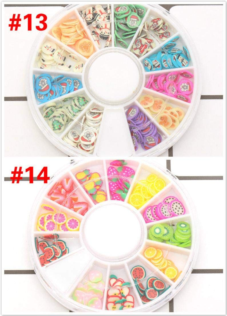lumos80 Polymer Clay Slices Wheel, Fimo Slices for Slime Supplies and Nail Art Nail Decor (#14 Fruit) by astor_farm