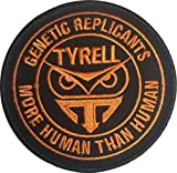 "[Single Count] Custom and Unique (3'' x 3'') Round ""Tactical"" Blade Runner ''Tyrell'' ''Genetic Replicant More Than Human'' Embroidered Applique Patch {Black & Orange Colors} [Licensed]"