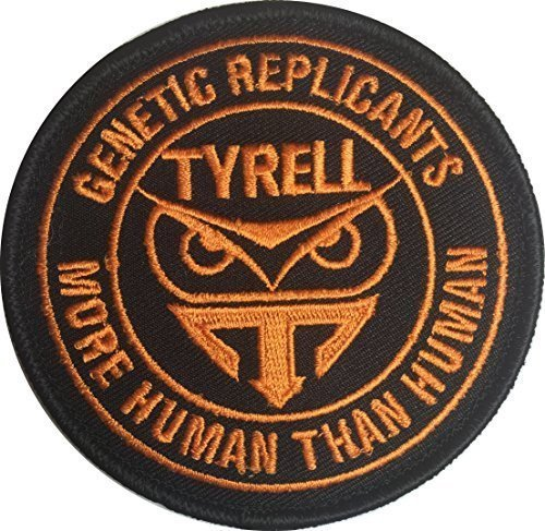 "[Single Count] Custom and Unique (3'' x 3'') Round ""Tactical"" Blade Runner ''Tyrell'' ''Genetic Replicant More Than Human'' Embroidered Applique Patch {Black & Orange Colors} [Licensed] by Patch Squad USA"
