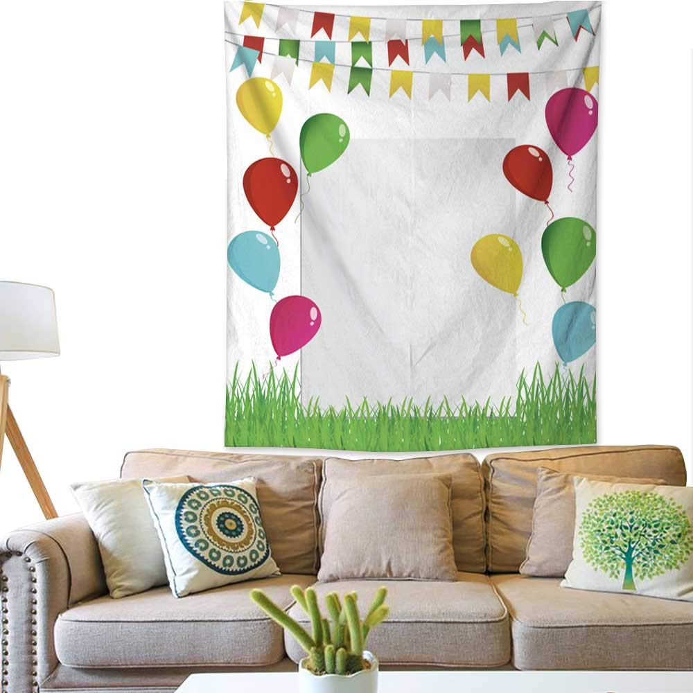 Pattern Tapestry Greeting Card or Invitation for a Holiday Green Grass and Garland of Colorful Flags and Flying Balloons Vector Free Form 40W x 60L INCH