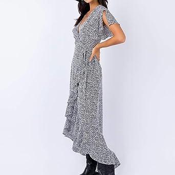 Damska Kleid für Damska Elegant Somerl Damska Kleider Sommer V-Ausschnitt Flare Ärmel Krawatte Taille Offene Gabel Rüschen Leopardenmuster Langes Kleid Kleidung für Damska: Odzież