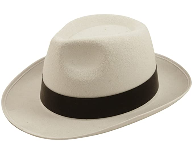 55d127ea898b3 Image Unavailable. Image not available for. Color  1920 s White Al Capone  Gangster Hat Adults Fancy Dress Accessory