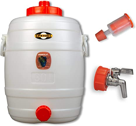 Speidel Getränkefässer Rund 12 Liter mit Messing-Auslaufhahn und Gärspund