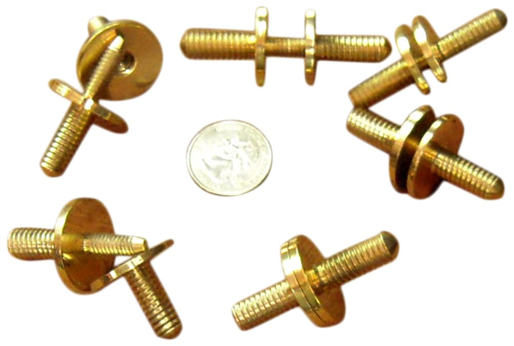 JWL (6) Solid Brass Cane Connectors Couplers 3/8'' x 16 Threads to Split Canes (6)