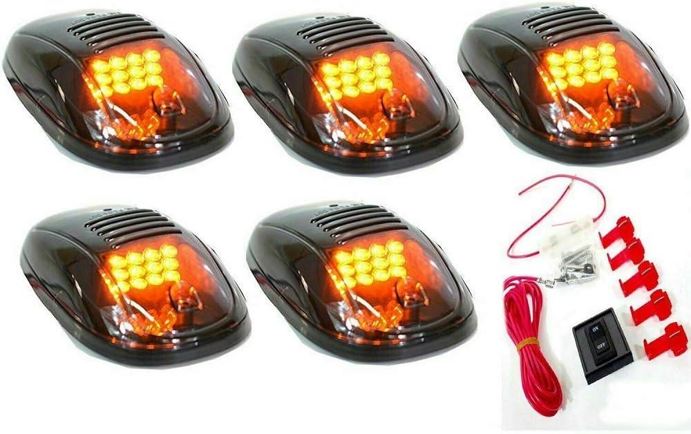 Riloer Luces de Techo de Cabina de Humo 5 Piezas 9LED Luces de Techo /Ámbar Luces 12V 24V L/ámpara Pira/ña para Autom/óviles Remolques Camiones