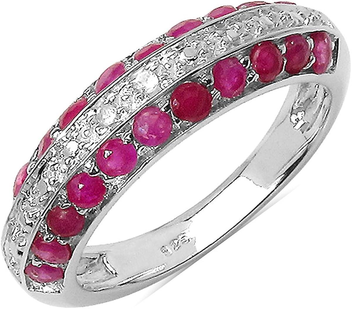 Silvancé - Anillo de mujer - plata esterlina 925 bañada en rodio - auténtico piedras preciosas: Ruby ca. 1.07ct. - R4666R_SSR