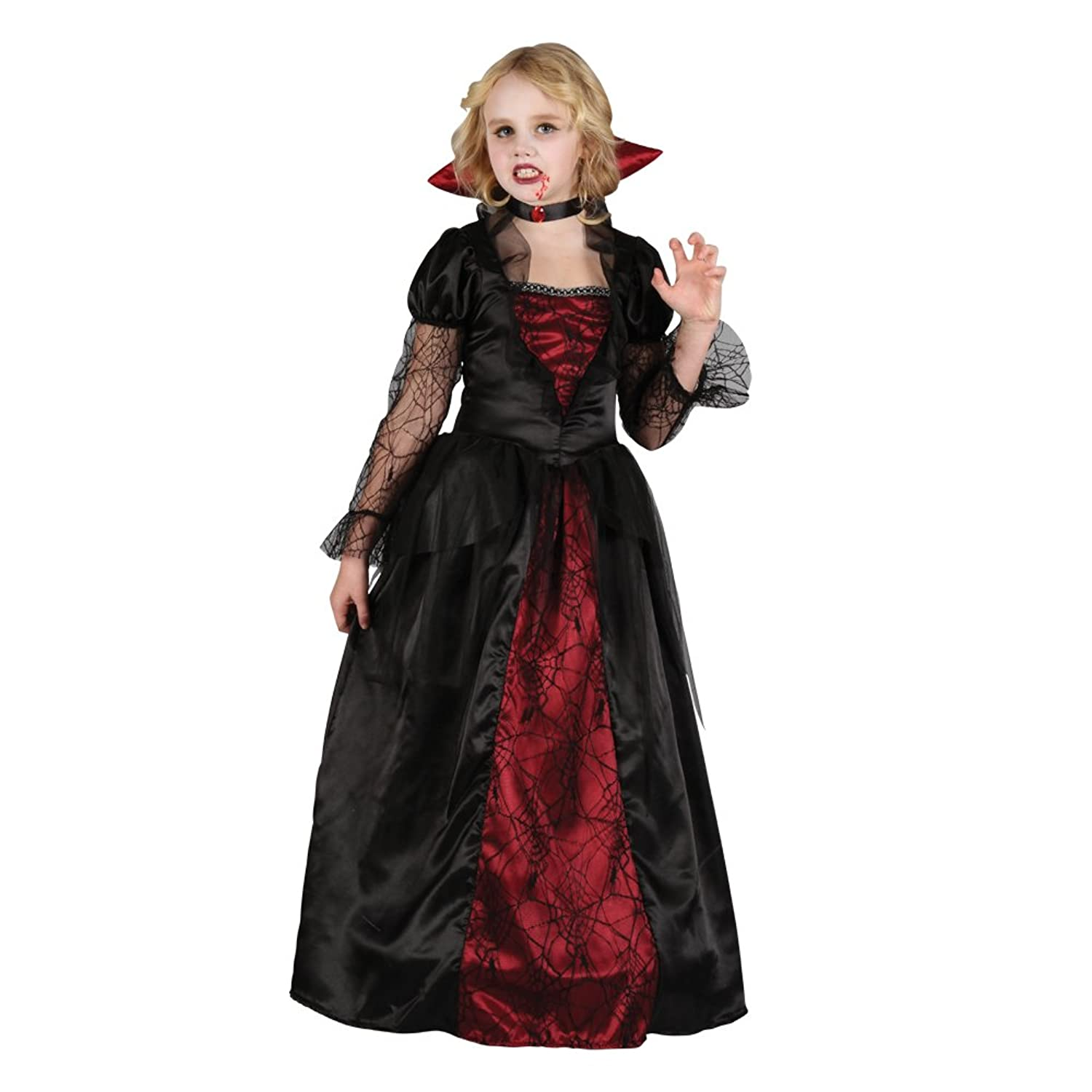GIRLS VAMPIRE PRINCESS HALLOWEEN OUTFIT - (RED, BLACK): Amazon.co ...