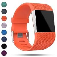 Bracelet de rechange IFeeker pour Fitbit Surge - Bracelet souple classique en silicone avec fermoir à boucle en métal pour montre intelligente Fitbit avec kit d'outils (Disponible en taille S et L)