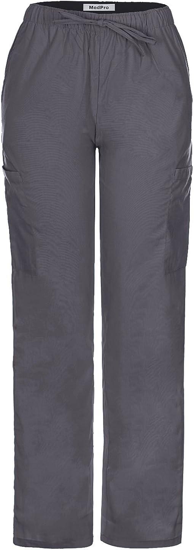 MedPro Womens Medical Scrub Set Printed V-Neck Wrap Top Cargo Pants/Â//Â