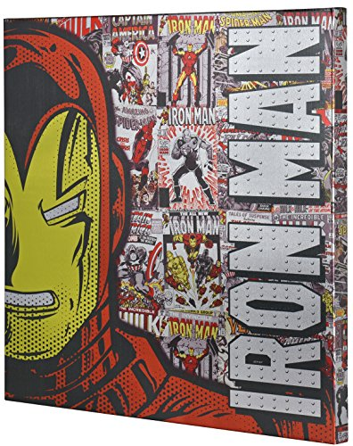 Marvel Iron Man Retro XL Metallic Canvas Comic Superhero Wall Art, 25x25 Edge Home A2501HU4