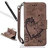 Leecase Retro Elegant Pretty Borwn Embossing Love Heart Flower Flip PU Leather Fold Wallet with Strap Book Style Stand Function Magnetic Closure Case Cover for Samsung Galaxy J3 2017
