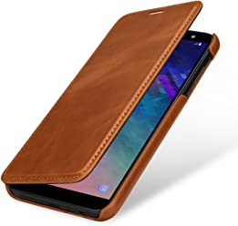 StilGut Book Type Case, Custodia per Samsung Galaxy A6 2018 a Libro Booklet in Vera Pelle, Cognac