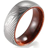 SHARDON Men's 8mm Polished Domed Titanium Ring with Engraved Damascus Stripes and Wood Inner