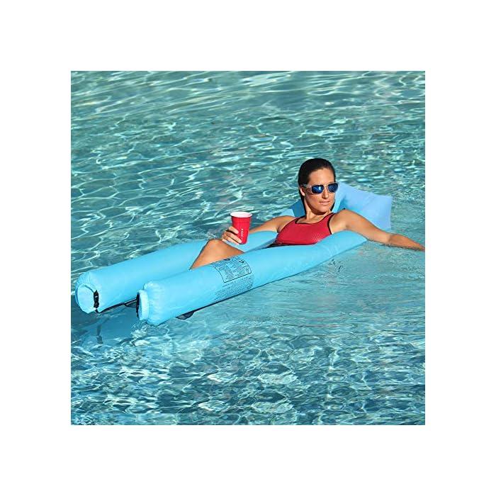 61w8cXU3fXL Adecuado para muchas ocasiones: la Hamaca de agua flotante para nadar es ideal para un día en la piscina, el lago o el océano. Mantén tu cuerpo mojado y apoya la cabeza a flote por encima del agua. Fácil de inflar: infle el tumbona de flotante en condiciones de viento. Si es un día ventoso, simplemente abre la boca de la tumbona de flotador en el viento para inflarla. Use un ventilador para infle si el viento es insignificante o si está en casa. Cómodo y duradero: la cama de malla suave suspende su cuerpo justo debajo de la superficie del agua para mantenerlo fresco. Compuesto por nailon impermeable, este flotador es de punto, fino y suave.