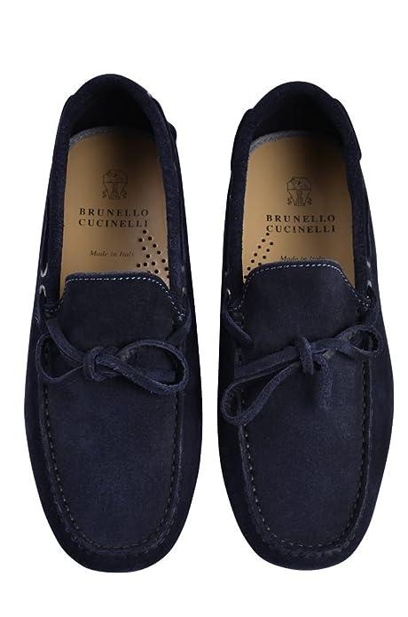 BRUNELLO CUCINELLI Chaussures Homme Bleu Foncé Brun Cuir Mocassins 39   Amazon.fr  Chaussures et Sacs 48456090de63