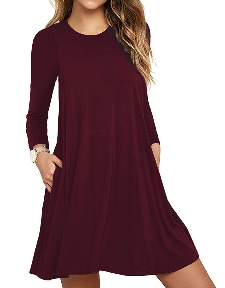 Women's Casual Plain Simple T-Shirt Loose Pocket Dress with Pockets Wine Red X-Large