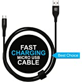 Affix 2.4 Amp Fast Charge, Data Transfer, Durable, High Speed Micro USB Data Cable - Black