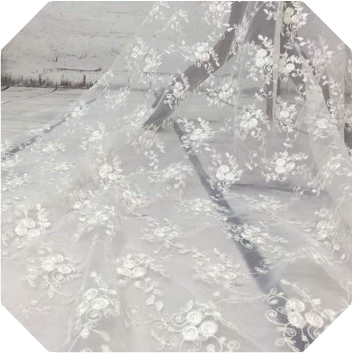 Tejido Para Tapicería | 1 yarda 130 cm ancho neto encaje francés gasa guipur tul tela de encaje de malla para vestido de novia oro blanco rosa azul púrpura-blanco-