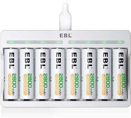 Oferta amazon: EBL Cargador Rápido de Pilas con 8 x AA Pilas Recargables, Cargador 8 Ranuras Independientes, Carga USB y Protección Múltiple