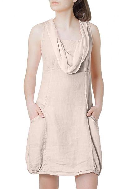 CASPAR SKL002 Vestido de Verano Elegante para Mujer Hecho de Lino Natural - con Cuello de