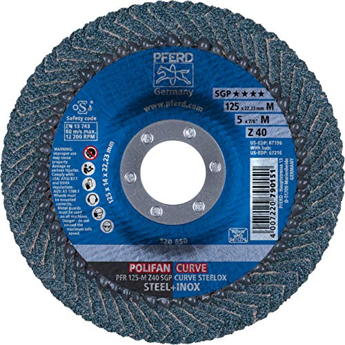 - PFERD Polifan Abrasive Flap Disc, Radial Shape, Round Hole, Phenolic Resin Backing, Zirconia Alumina, 5