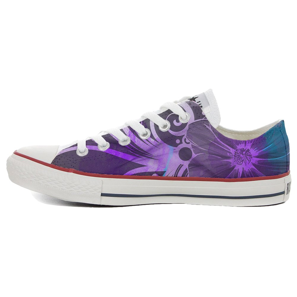 Converse Women's All Star (shoes customized) hand hand customized) printed Italian style Slim Purple flowers Parent B015D08R88 31c482