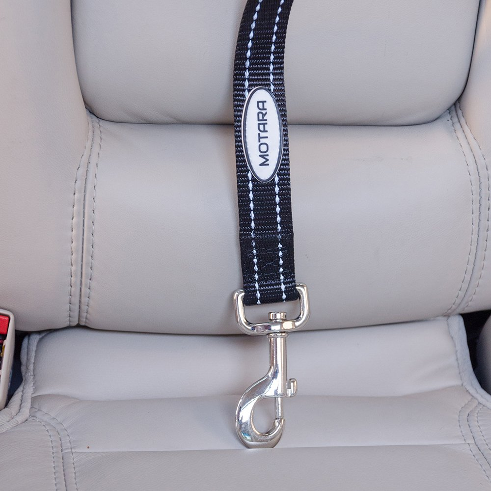 Car Dog Leash Seat Belt Tether for Dogs-Your Tether Harness Attaches Around Backseat Headrests-Breeds Up to 100 lbs-Adjustable Length to Secure Your Dog-For SUVs Sedans Trucks-Bonus Roll of Waste Bags