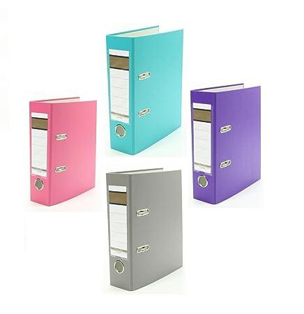 4x Ordner / DIN A5 / 75mm / Farbe: je 1x pink, türkis, lila und grau