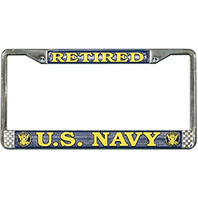 Honor Country US Navy Retired License Plate Frame (Chrome Metal): Automotive