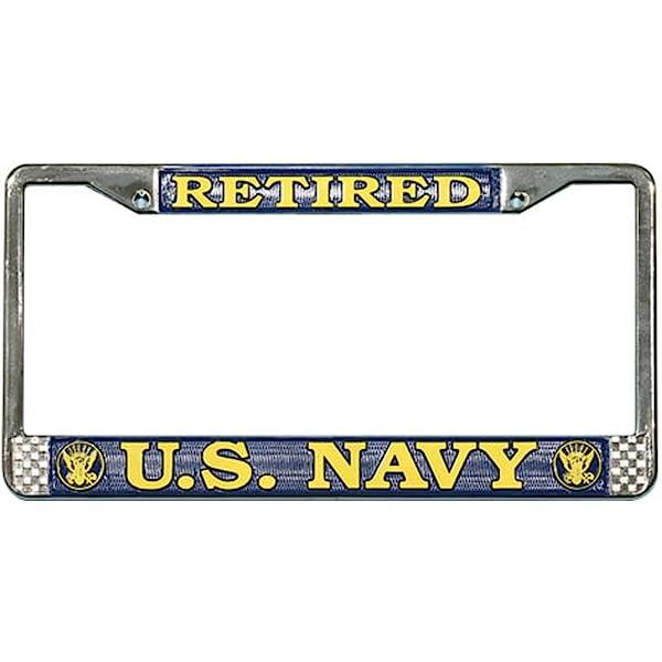 Navy Chief Petty Officer License Plate Frame U.S Chrome Metal