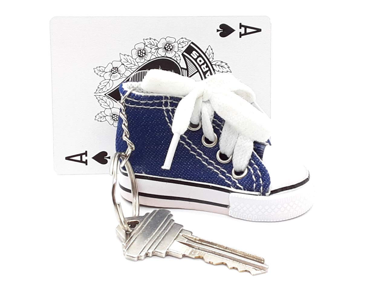 Cute Miniature Keyring Shoe for Party Favors Mini Key Chain Sneaker in Blue Denim Tiny Canvas High Top Backpack Charm for Boys and Girls Novelty Tennis Shoe Keychain for Kids Pack of 13