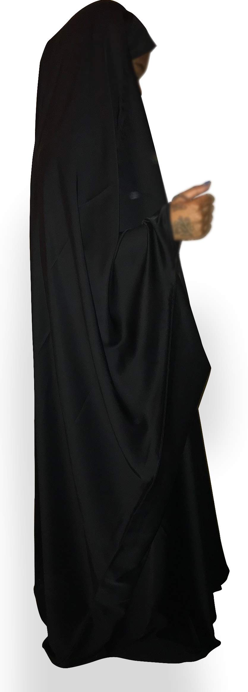HSW Clothing Company 100% Silk Black Muslim Women Full Body Overhead Abaya Prayer Garment Small (X-Large)