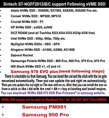 Not Fi... Sintech NGFF M.2 nVME SSD Adapter Card for Upgrade 2013-2015 Year Macs