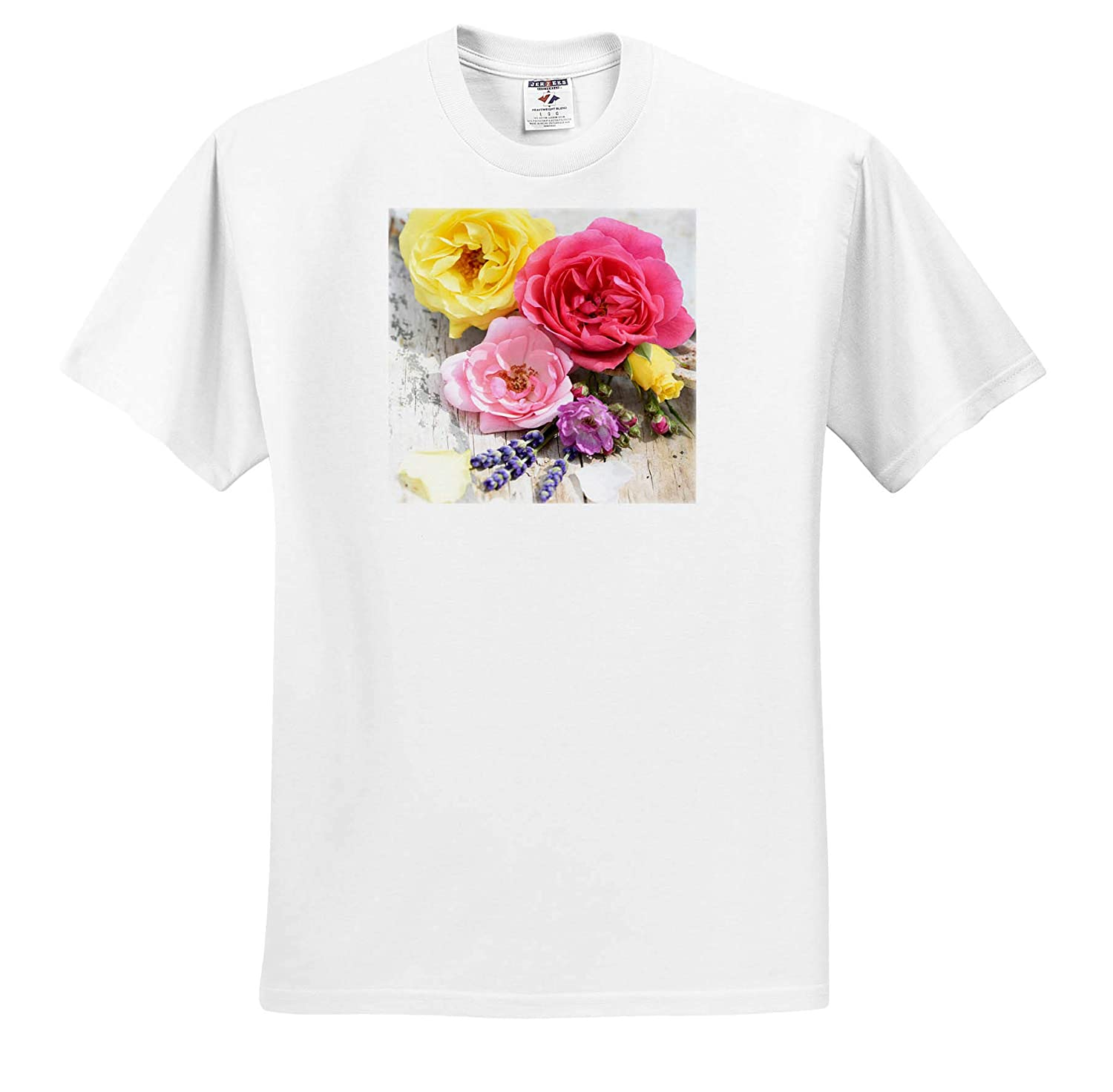 Summer Stillife with Pink and Yellow Roses Lavender on Old Wood 3dRose Uta Naumann Photography Stilllife T-Shirts