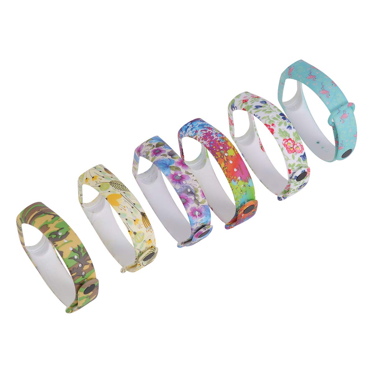Amazon.com: UKCOCO Band for Xiaomi Mi Band 3, 6 Pack Colorful Cartoon Floral Printed Soft Silicone Band Women Bracelet Smart Watch Strap Replacement ...