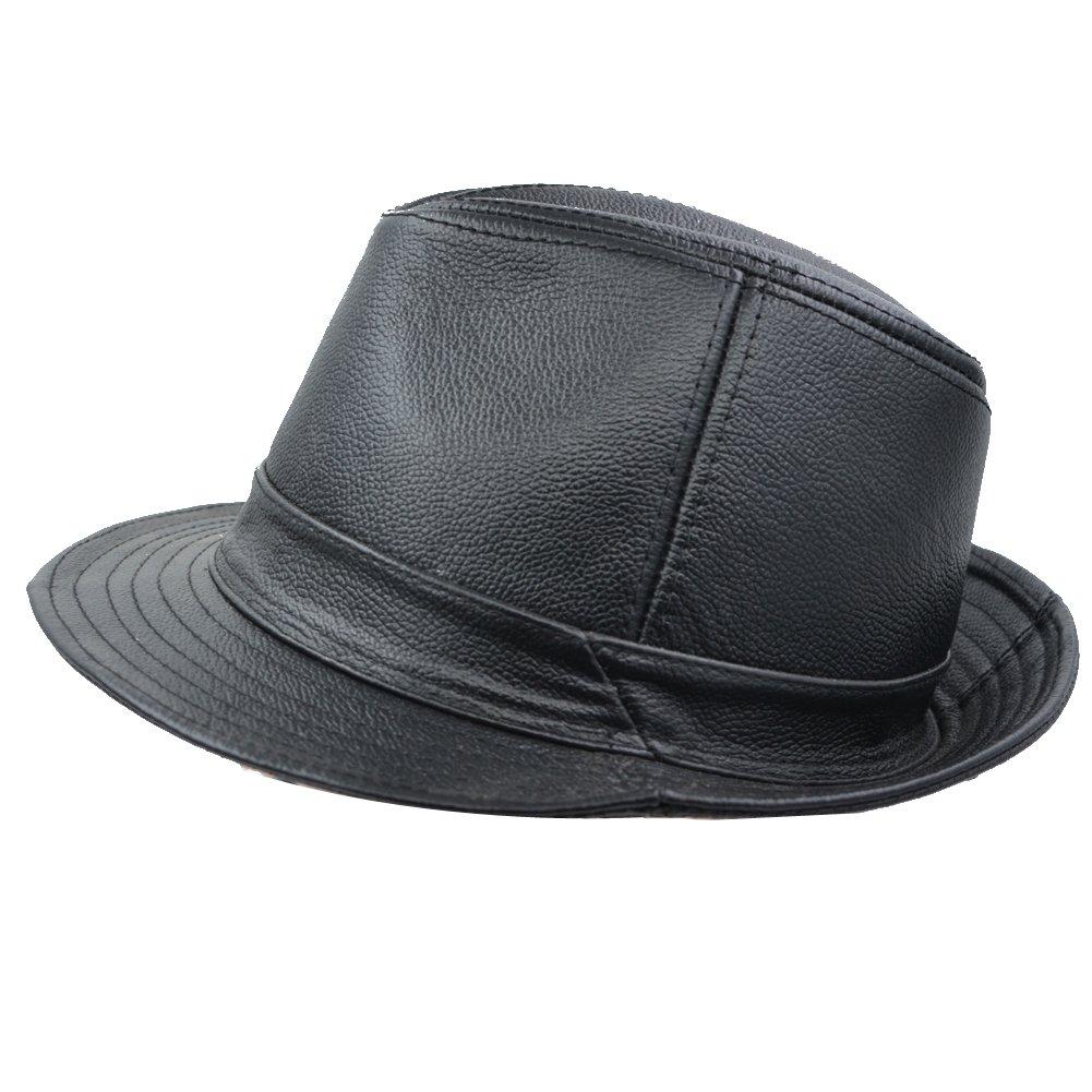 IFSUN Men & Women's Cowhide Jazz Hat Short Brim Suede Leather Fedora Hat