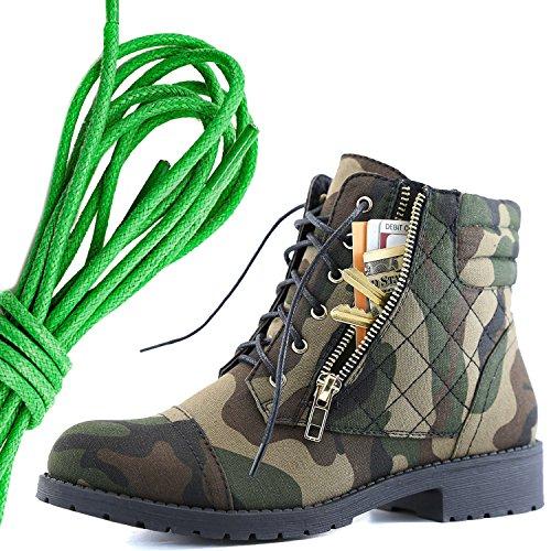 Dailyshoes Femmes Lace Militaire Boucle Boucle Bottes De Combat Cheville Haute Carte De Crédit Exclusive Poche, Vert Camouflage Cv