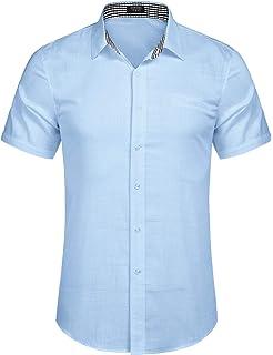 Burlady - Camisa de manga corta para hombre, mezcla de algodón, diseño de cuadros: Amazon.es: Ropa y accesorios